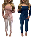 2017 elegant Off Shoulder Velvet Jumpsuit Women sexy Overalls Casual Drawstring Long Pants Ladies blue pink Jumpsuits Romper