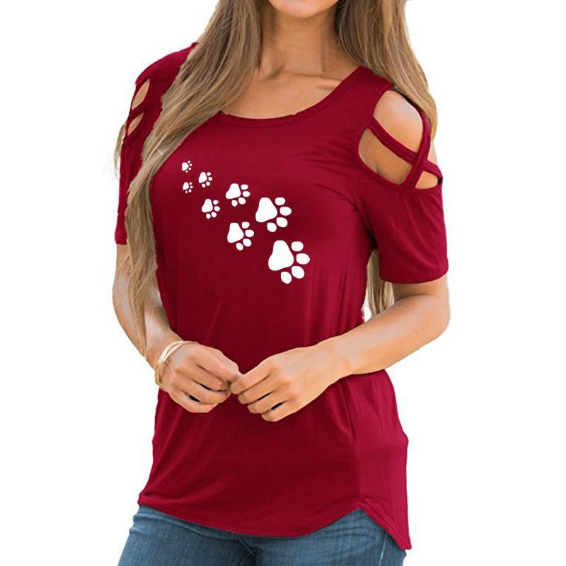 2018 New Fashion Footprint Pattern Print Shirt Women Tshirt T-Shirt Summer Bts Silicone Plus Size Kyliejenner Cactus