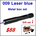 [RedStar]009 RedStar 5w high Laser pen Blue laser pointer metal box set include 5 starry pattern cap 2x16340 battery and charger