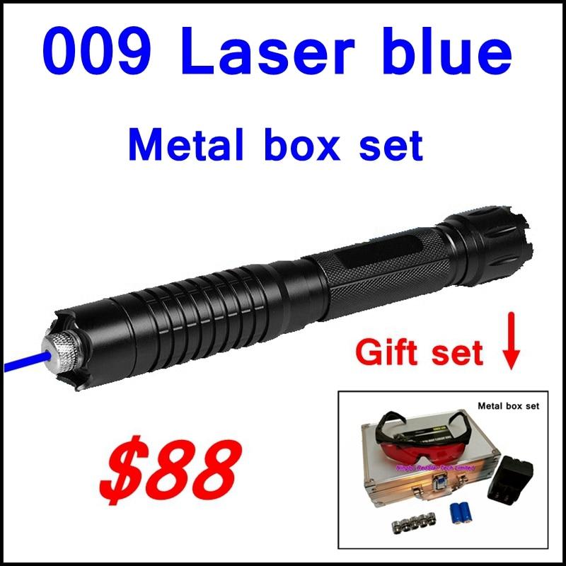 [RedStar] 009 RedStar haute stylo Laser Bleu laser pointeur boîte en métal ensemble incluent 5 motif étoilé cap 2x16340 batterie et chargeur