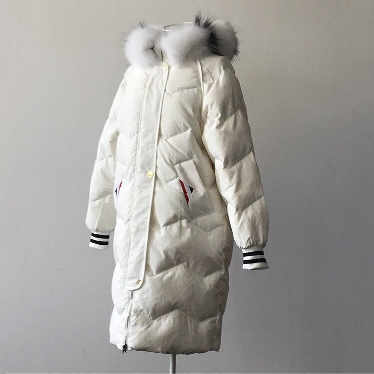 With Femminile Con black Inverno Outwear Collare Cappotto Fur 2018  Pelliccia Cappuccio Ispessimento E Genuine Anatra Giù ... ec509488692