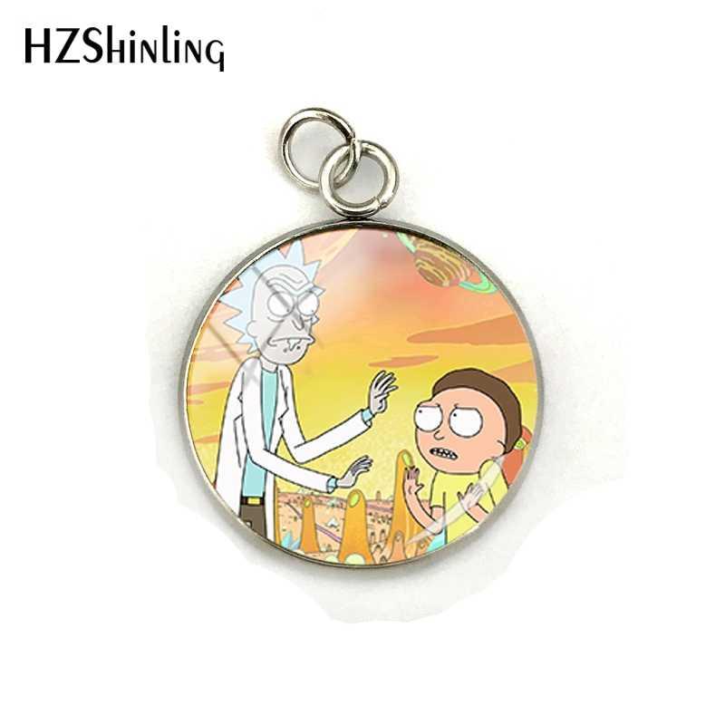 2019 moda Rick y Morty dibujos animados joyería vidrio foto colgantes hecho a mano vidrio cabujón Acero inoxidable encantos regalos