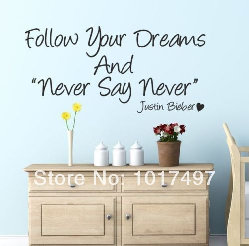 JUSTIN BIEBER Never Say Never   Wall Quote Art Sticker   Kids Bedroom Love  | Girls
