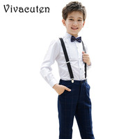 Formal School Performance Suit Brand Flower Boys Wedding Overall Suits with Bowtie Dress Plaid Bib Pants Shirt Clothes F097