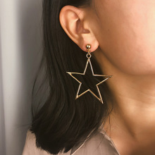 Fashion womens jewelry personality exaggeration hollow smooth face Earrings concise long geometric temperament Star