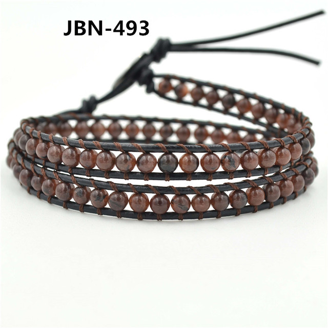 Charm Bracelets Leather Band Handmade Brown Beads Double Genuine Bracelet Jbn 493