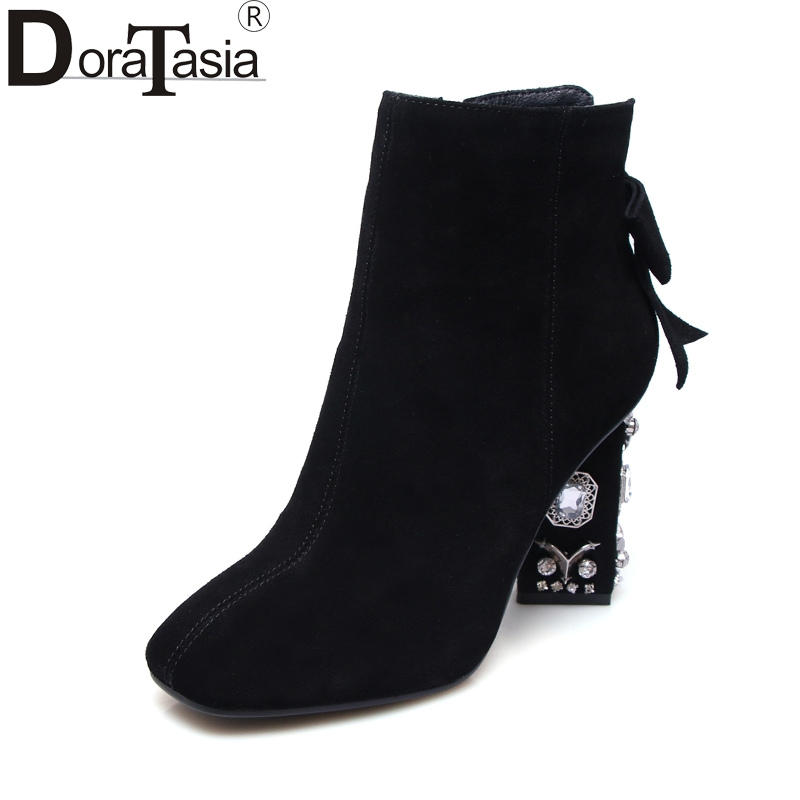 DoraTasia brand design crystals large Size 34-43 cow suede women shoes fashion black bow ankle boots square toe high heels цена