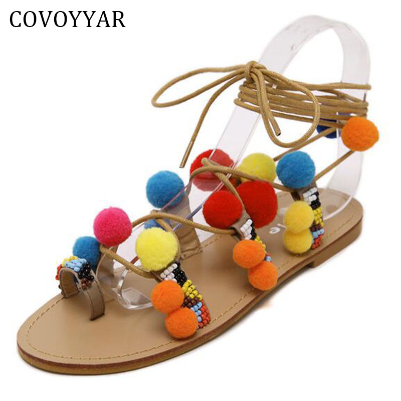 2018 Bohemia Women Flat Lace Up Gladiator Pom Pom Sandals Ankle Wrap Beading Toe Cute Ball Native Summer Shoes Women WSS191 bohemian style summer celebrity lace up flat shoes pom poms cute sandals skyblue pink colorful clip toe comfortable dress sandal