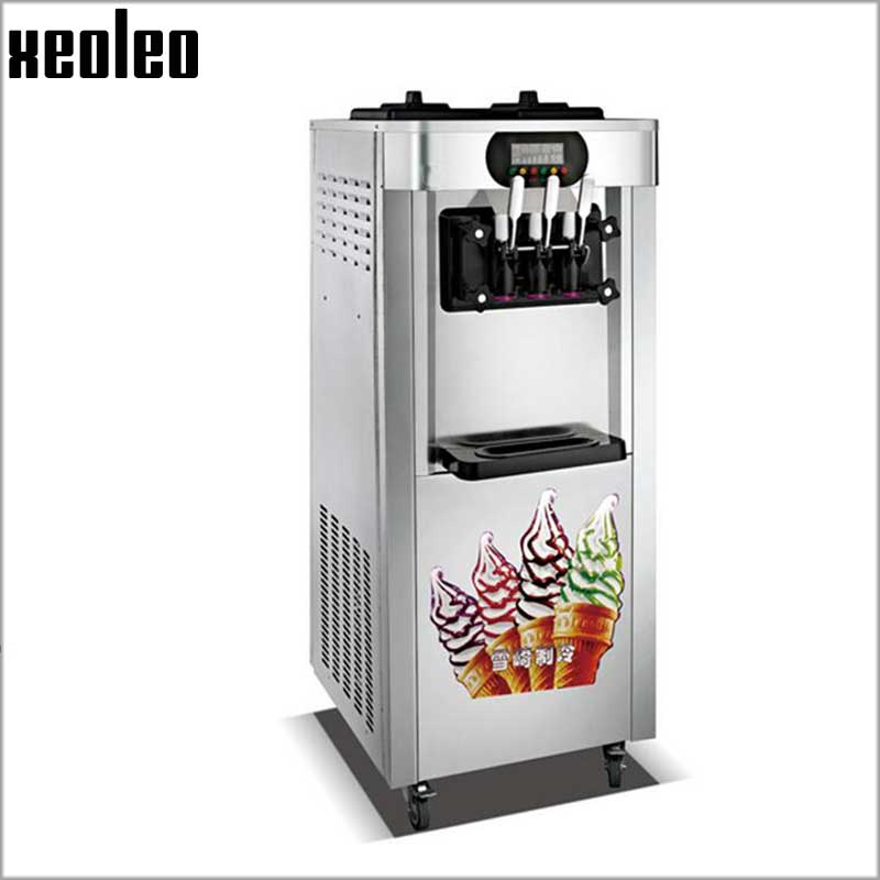 Xeoleo 3 flavors Ice cream maker Stand floor Ice cream machine 2300W Stainless steel Commerical Yogurt machine 25L/H with Wheels vik max adult kids dark blue leather figure skate shoes with aluminium alloy frame and stainless steel ice blade
