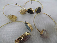 Wholesale 4strands 60mm Double Druzy Gold Bangle Double Druzy Crystal Adjustable Gold Bangle Bangle Bracelet Stacking