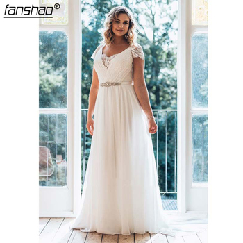 White Plus Size Wedding Dress A-Line Floor-Length V-Neck Short Sleeve Chiffon Sweep Train Illusion Lace Wedding Dress фото