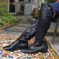Nancyjayjii Women Black Leather Winter Snow Mental Over the Knee 5050 Shoes Woman Boots Genuine Cow Leather Height Increasing