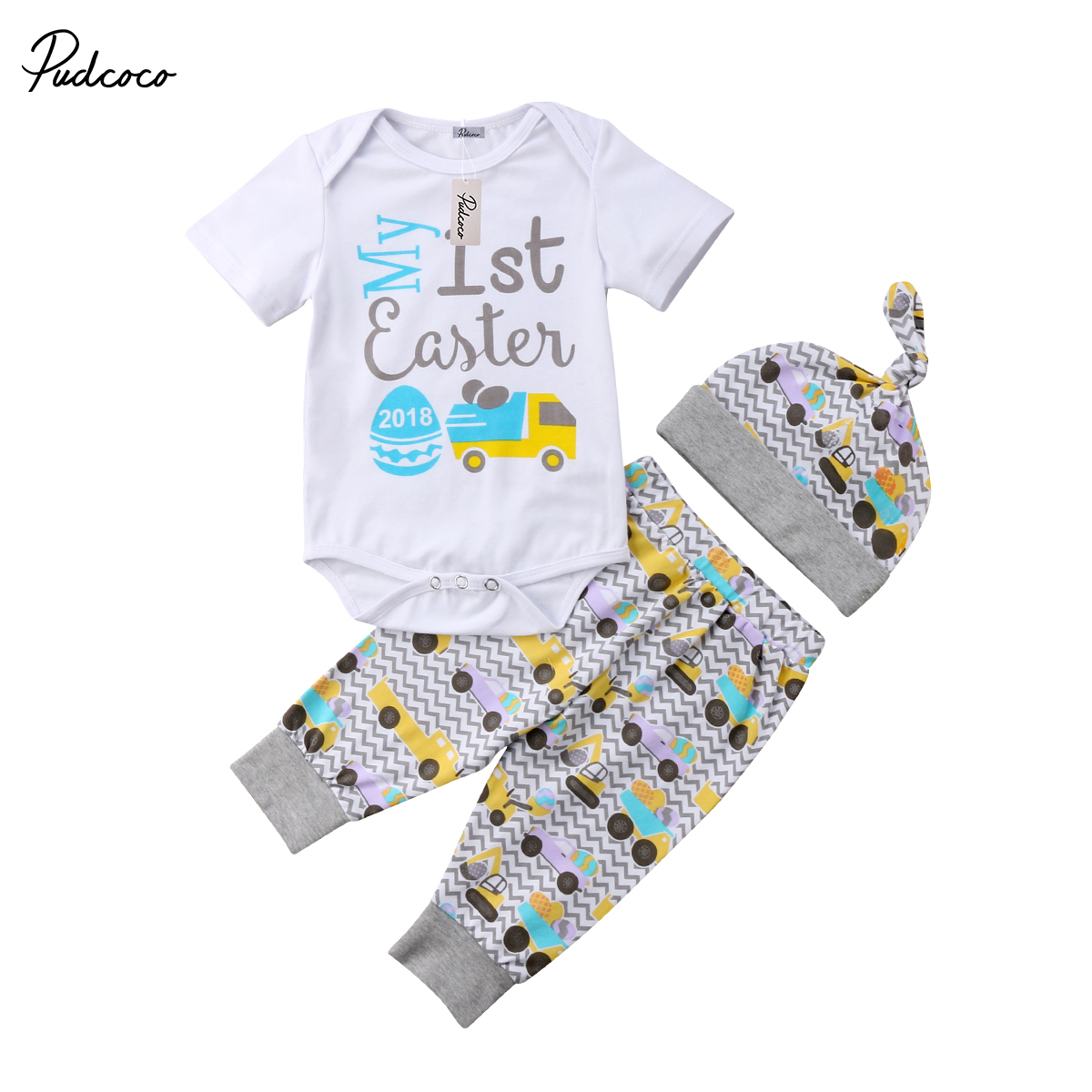 2018 Brand New Baby Easter Outfits Newborn Infant Toddler Boy Girl Romper Pants Hat 3Pcs Set Short Sleeve Clothes Easter Outfits 3pcs set newborn infant baby boy girl clothes 2017 summer short sleeve leopard floral romper bodysuit headband shoes outfits