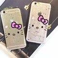 Linda pó glitter bowknot hello kitty case para iphone 6 6 s 6 plus 6 splus 7 7 além disso bling dos desenhos animados suave tpu silicone shell fundas