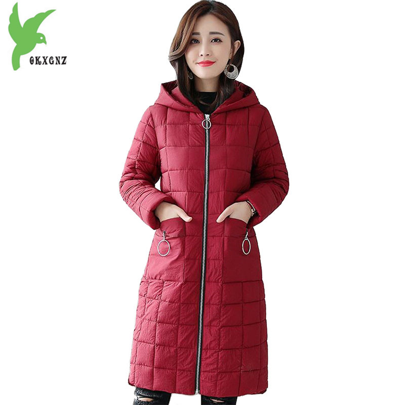 2018 Autumn Winter   parkas   women's Down cotton jackets Frosted fabric hoodies Plus size Slim female long cotton coats OKXGNZ 2181