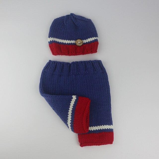 Новорожденный фотографии реквизита 0 - 3 мес. синий с red hat и брюки детские фотографии крючком наряды fotografia аксессуары