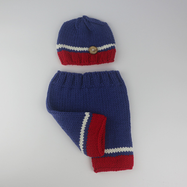 Newborn baby photography props 0-3 month blue with red hat and pants baby  photography a2ddfc732f25