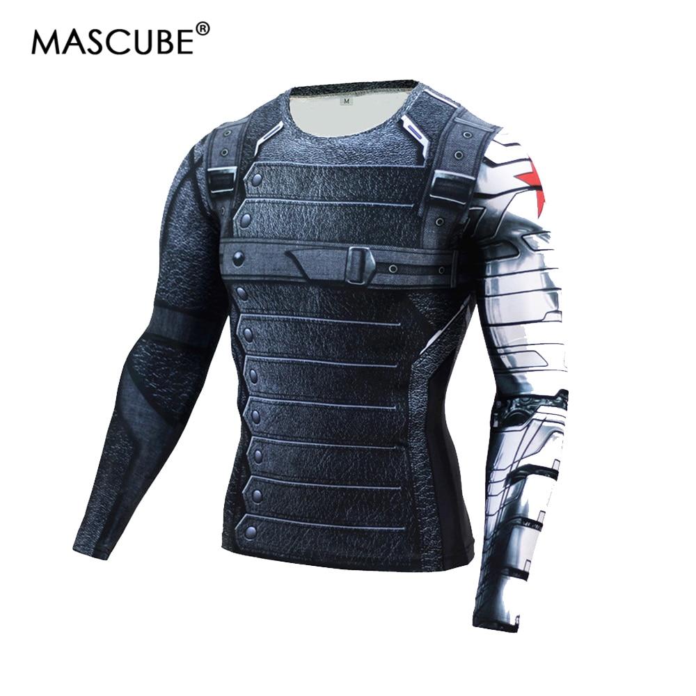 MASCUBE 2017 kompresinis marškinėliai žiemos kareivis 3D spausdinimas Superhero ilgomis rankovėmis T marškinėliai Fitness Crossfit vyrams atsitiktinis kultūrizmas