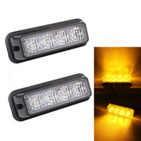 TOMALL 2pcs Truck Side Marker Lamps 4 LED Car Flashing Warning Lights Auto Fog Light Grille