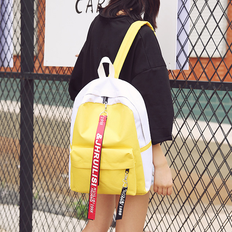 2018 new design canvas preppy style Backpack With Letters Ribbons School Bags For Boys Girls Satchel Travel School Bag Mochila miwind famous brand preppy style leather school backpack bag for college simple design travel leather backpack bags tlj1082
