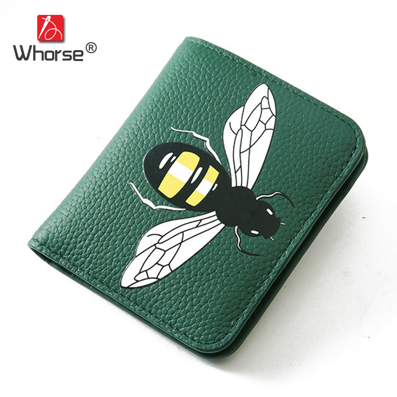 New Fashion Bee Mini Fold Short Wallet Genuine Leather Women Small Wallets With Coin Pocket Card Holder Purse Bag For Lady W117 new fashion leather small lady wallets women coin purse short with card holder vintage girls wallet mini purses best gift 500835