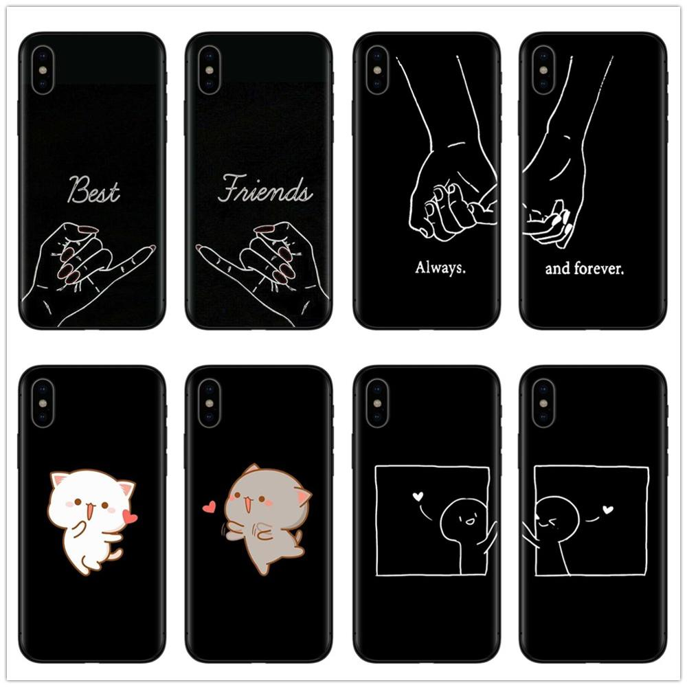 Girls Bff <font><b>Best</b></font> <font><b>Friends</b></font> Forever Black Soft Phone Cases Cover For <font><b>iPhone</b></font> 7 6 6S 8 Plus <font><b>Coque</b></font> X XR XS MAX <font><b>5S</b></font> SE Cute Couple Capinha image