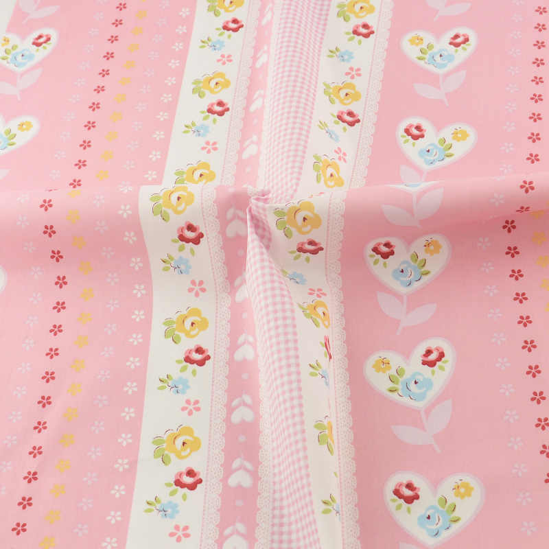 2016 new arrivals Pink Lace Floral Cotton Fabric Sewing Cloth Craft Teramila Fabrics Tecido Children Cloth Art Work Lovely Style