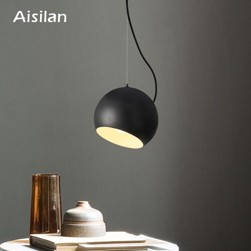 Aisilan Nordic LED pendant light round metal for living room bedroom kitchen black Modern style AC85 260V 5W  warm white Pendant Lights     - title=