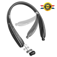 Elivebuy Neckband Bluetooth Headphones Foldable Wireless Headset With Retractable Earbuds Sweatproof Stereo Earphones With Mic