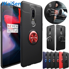 Luxury Full Cover Protect for Oneplus 6 6t Car Magnetic Suction Bracket Finger Capa Metal Ring Soft TPU Back Case