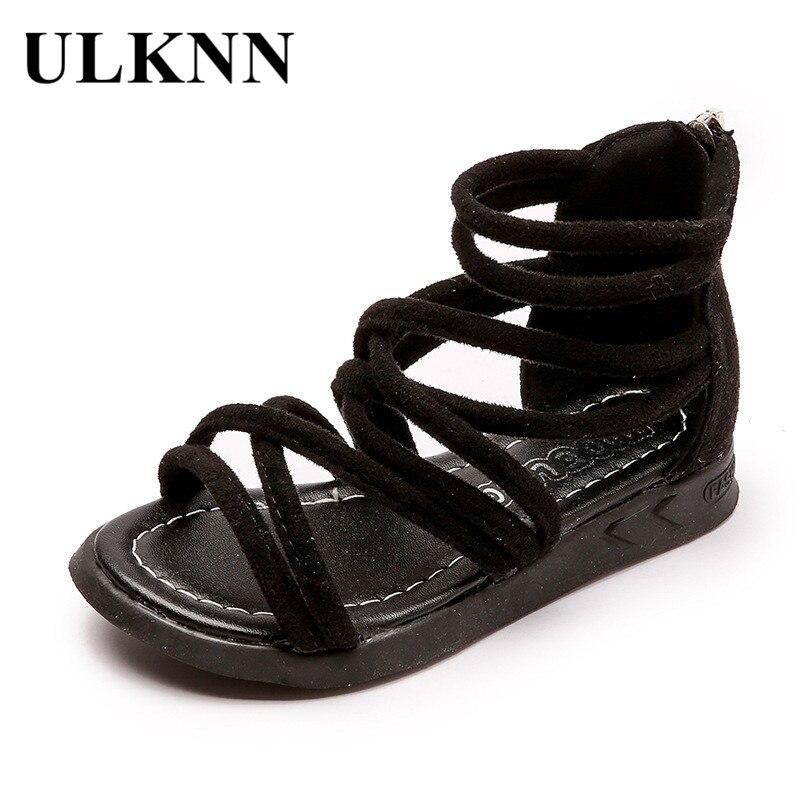 ULKNN Toddle Girls Shoes Children Roman Sandals Kids Party Student School Casual Sandals Baby Zip Anti-Slip Shoe New Summer 2018