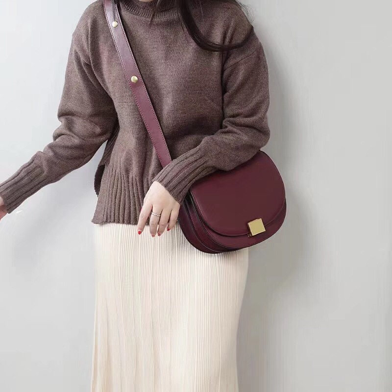 2019 Brand Designer Women Satchel Bag Hard Cowhide Leather Flap Bag Classic Female Crossbody Shoulder Bag