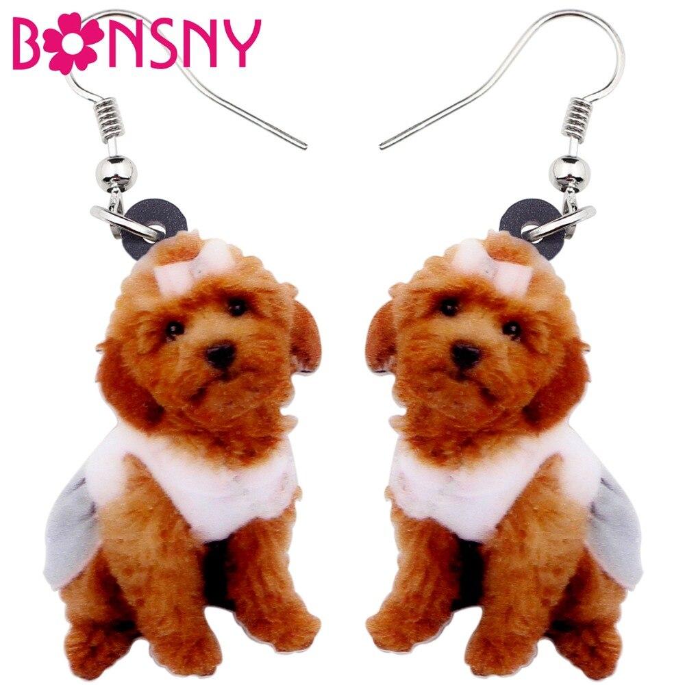 Bonsny Acrylic Sweet Sitting Teddy Poodle Dog Earrings Big Long Dangle Drop Fashion Jewelry For Women Girls Ladies Kids Animal