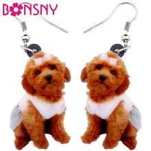 Bonsny Acrylic Sweet Sitting Teddy Poodle Dog Earrings Big Long Dangle Drop Fashion Jewelry For Women Girls Ladies Kids Animal(China)