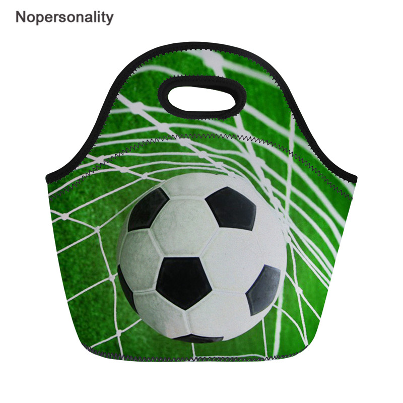 Nopersonality Football Print Neoprene Lunch Bag Backetball Design Picnic Snack For Men Women Keep Warm Food Bag Insulation Bag