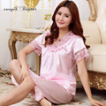 High quality silk pyjamas ladies sleeping wear female hollow out embroidery floral lace v neck short sleeve satin pajama sets