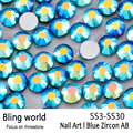 SS3-SS30 Blue Zircon AB Nail Art Rhinestones With Round Flatback For Nails Art Cell Phone And Wedding Decorations