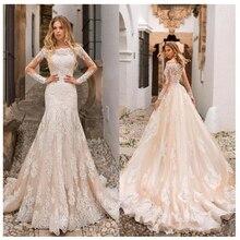 שמפניה חתונה שמלת תחרה אפליקציות מלא אורך שרוולי חתונת הכלה שמלות כפתורים חזרה שמלות כלה נתיק נגרר