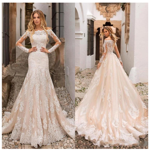 Image 1 - Champagne Wedding Dress Lace Appliques Full Length Sleeves Wedding Bride Dresses Buttons Back Wedding Gowns Detachable trailing