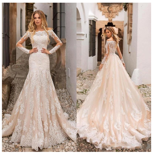 Champagne Wedding Dress Lace Appliques Full Length Sleeves Wedding Bride Dresses Buttons Back Wedding Gowns Detachable trailing