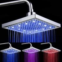 8 Inch 20cm x 20cm Rainfall Square Showerhead Color Change Bath Showerhead No Shower Arm Bathroom 3 color Shower Head