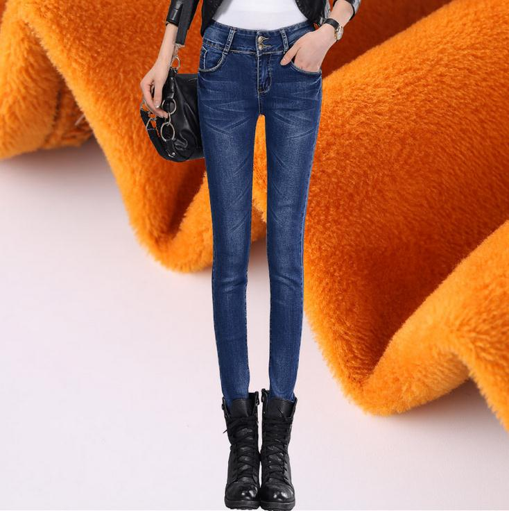 AS 57 In the new winter plus velvet pants waist jeans female Korean thin thick pencil