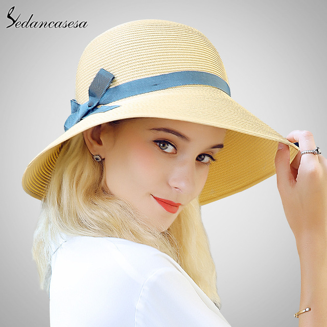Sedancasesa 2018 moda mujer sombrero de paja Verano de ocio al aire libre  sombrero de sol 29fcefa269b4