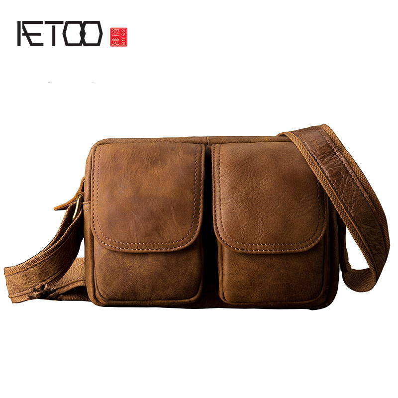 AETOO  Handmade leather postman messenger bag male bag leather trend small bag shoulder bag retro leisure package lipt 2018 mini package bag chain bag small package of the new spring and summer leisure package free shipping