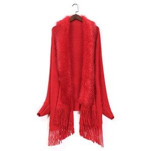 Image 4 - Nueva primavera para mujer abrigo de piel de zorro falso suéter de cachemira Poncho gris para mujer largo grueso tejido borla cárdigan capas