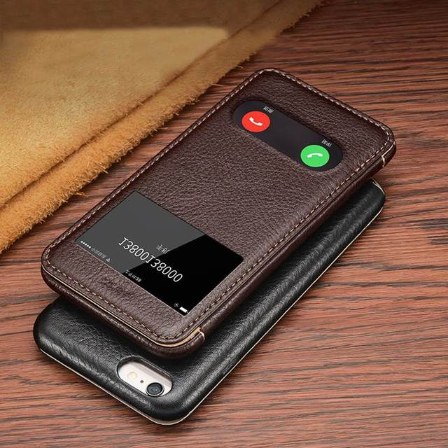 best service e3d28 b8c19 US $15.8 7% OFF|Window View Genuine Leather Case For Apple Iphone 6 6s  Magnetic & Plating Protective Cover Coque For Iphone 6 Flip Case-in Flip  Cases ...