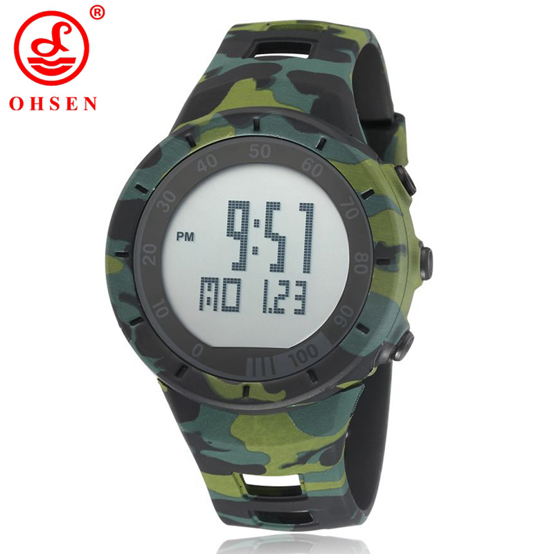 OHSEN Fashion Men Sports Watches Silicone LED Digital Watch Chronograph Military Camouflage Wristwatches Relogio Masculino 1615OHSEN Fashion Men Sports Watches Silicone LED Digital Watch Chronograph Military Camouflage Wristwatches Relogio Masculino 1615