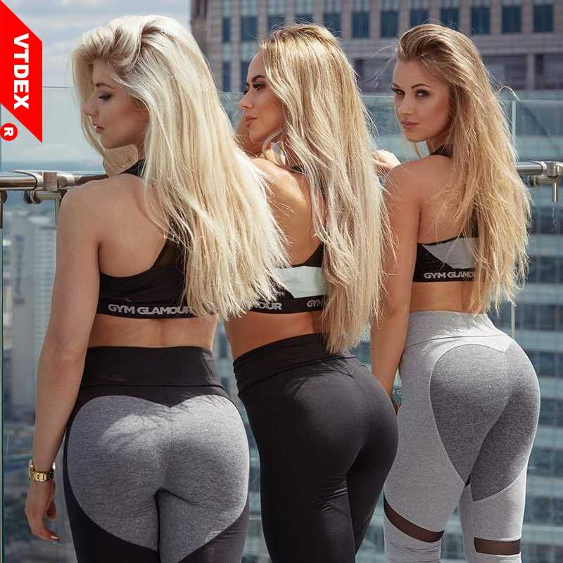 65e35b60ae8ad Detail Feedback Questions about Sexy Heart Shape Patchwork Yoga Pants Women  2018 Fitness Leggings Push Up Leggins Sport Women Tights Running Jogging  Femme ...