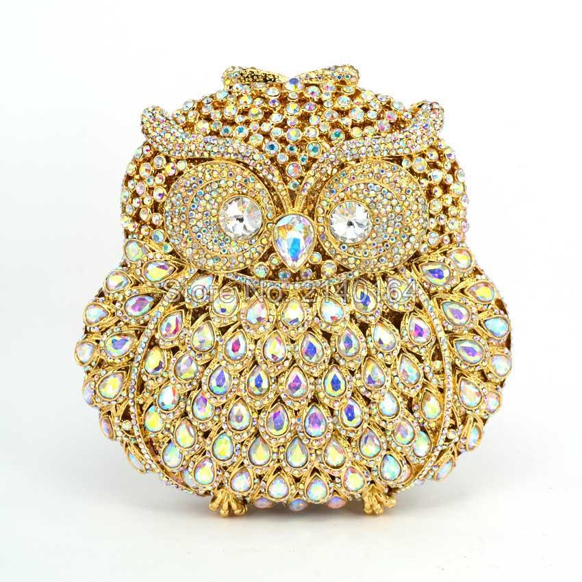 Flower Rhinestones Women Owl Clutch Bags Ladies Vintage Evening Bags Crystal Wedding Bridal Handbags Shoulder Bag AB color Q08