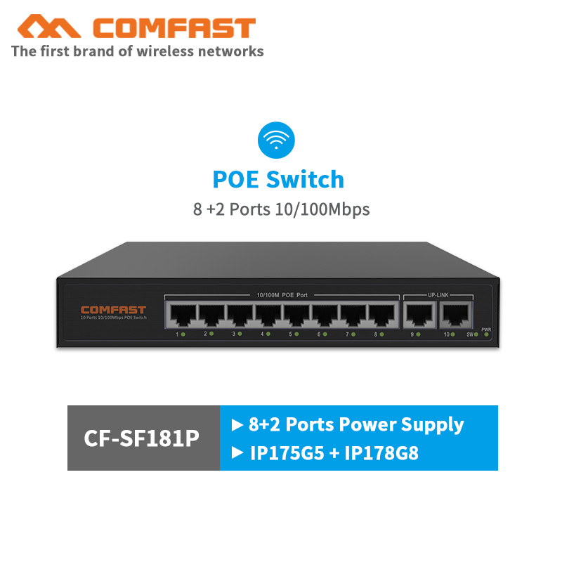 COMFAST fast POE switch CF-SF181P network switch 8+2 port 10/100Mbps POE+switch plug and play for wireless AP wifi router IP Cam 5ports poe network switch wireless ap controller poe switch to manage access point wifi ap for ap ip camera
